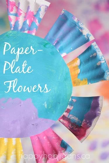 flower crafts for preschoolers paper plate flowers for toddlers happy hooligans 997