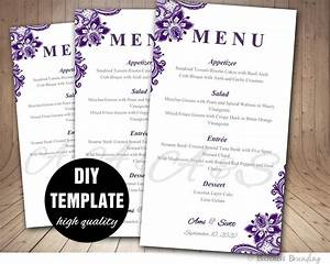 purple wedding menu card template diy wedding menu template With diy wedding menu template free