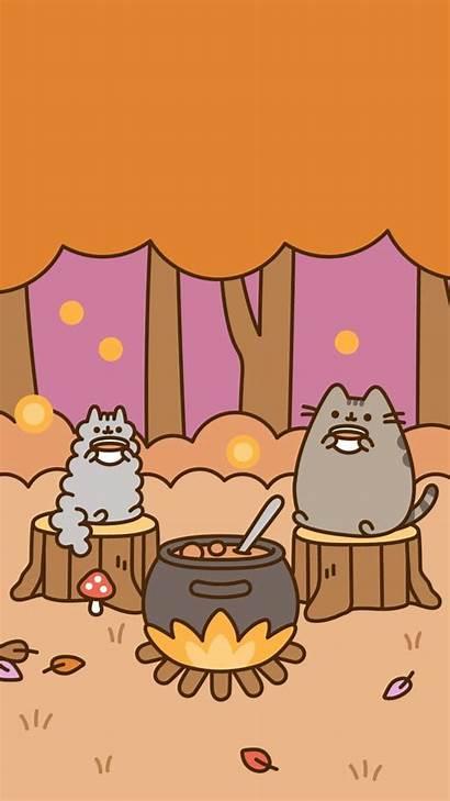 Pusheen Fall Background Autumn Cat Kawaii Phone