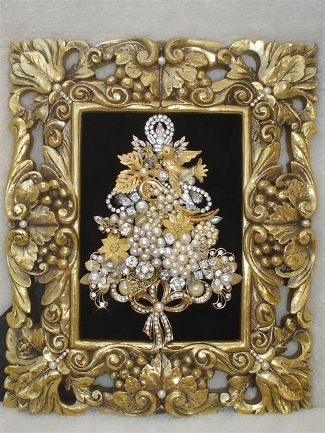 vintage jewelry framed christmas tree elegant