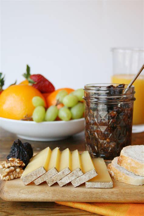 breakfast spread  comte fig  walnut jam bread