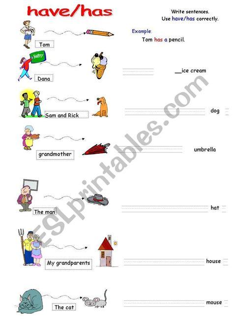 Havehas Easy Grammar Worksheet  Esl Worksheet By