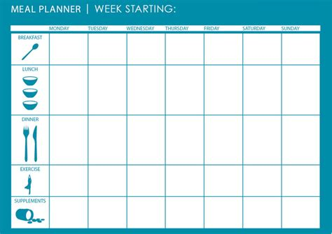monthly weekly meal planner template microsoft excel