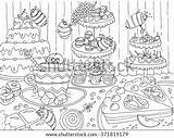 Candy Coloring Sweets Drawn Shutterstock Cakes Bees Adults Theme Candies Celebration Line Doodle Templates sketch template