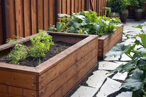 wooden garden boxes planting box wood beautiful plants containers as
