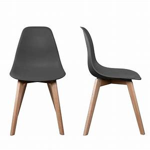 Chaise Stokholm Gris Pieds Bois Lot De 2 Chaise Design