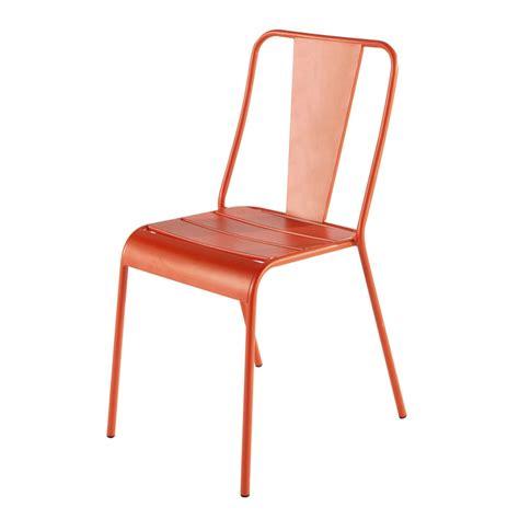 chaise de jardin en metal orange harrys maisons du monde