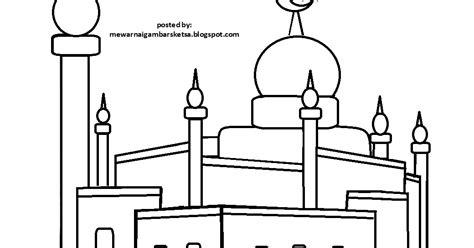 kumpulan mewarnai gambar sketsa masjid hitam putih