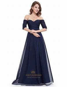 navy blue off the shoulder ruched evening gowns long with With robe de soirée bleu nuit