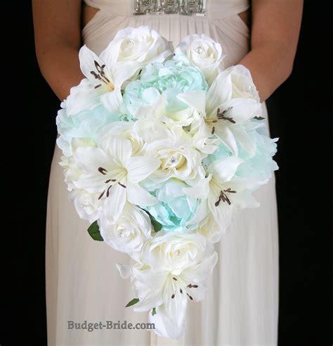 cascading tiffany blue  white wedding bouquet