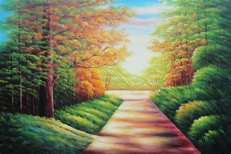 secret garden path oil painting landscape tree autumn