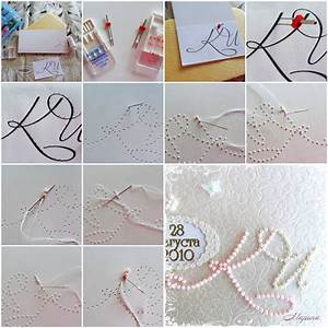 how to make beads monogram card step by step diy With diy wedding invitations step by step instructions