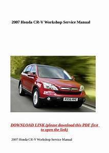 2007 Honda Cr V Workshop Service Manual By Yhkj