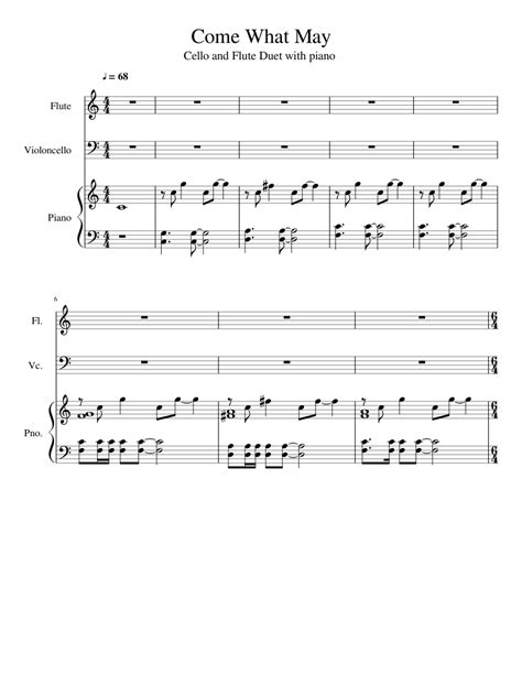 Come What May Sheet Music For Flute Piano Cello Download