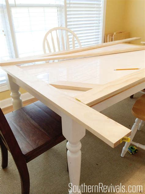 wooden table with tile top tile top table makeover updating a tile top table with