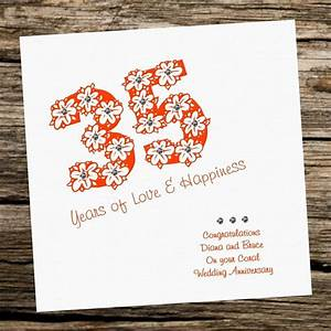 Handmade Card - Wedding Anniversary 35th Coral - personalised