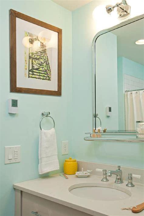 Gray And Aqua Bathroom by Taupe Quartz Countertop Design Ideas
