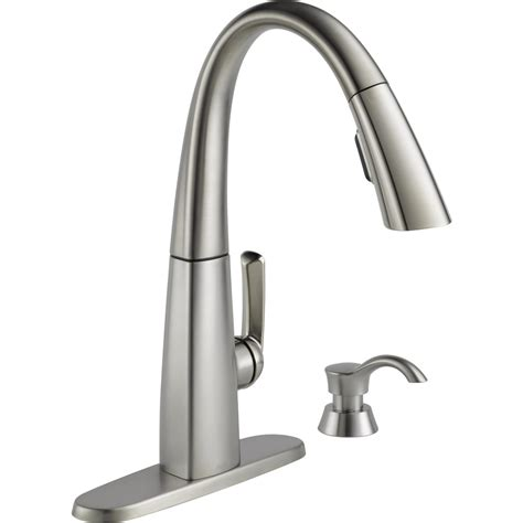stainless faucets kitchen shop delta arc spotshield stainless 1 handle deck mount