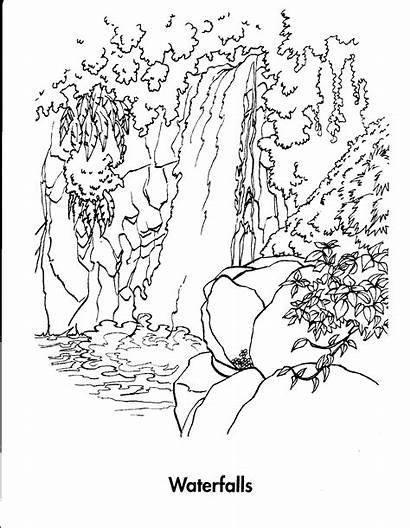 Waterfall Coloring Nature Drawing Printable Gambar Sketsa