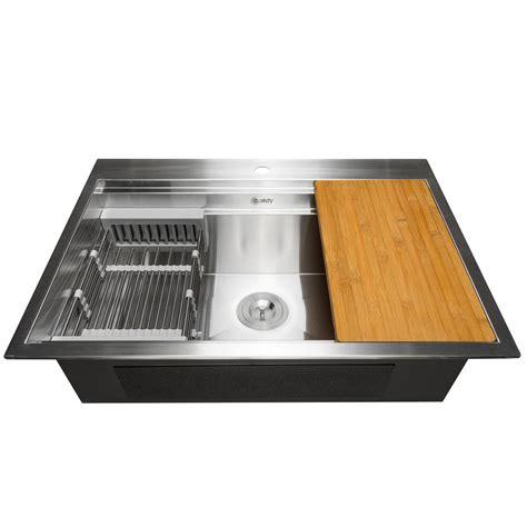 drop in stainless steel kitchen sinks 33 x 22 ruvati drop in stainless steel 33 in top mount 16