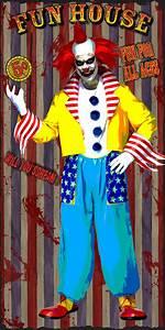 Scary, Clown, Fun, House, Halloween, Door, Cover, 5, U0026, 39, X, 2, U0026, 39, Yellow, Blue, Silver, Red