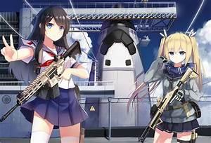 Original, Characters, Sailor, Uniform, Gun, Anime, Girls, School, Uniform, Weapon, Space, Shuttle