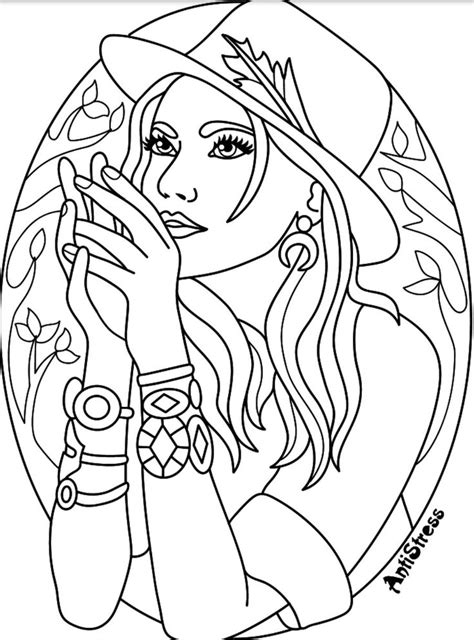 coloring page beautiful women coloring pages  adults