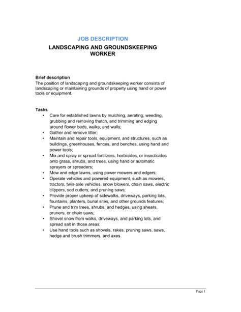 Landscaping Resume Description by Groundskeeper Resume Exle Best Template Collection