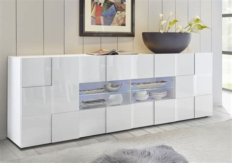 Sideboard And Display Cabinet by Treviso Sideboard Two Doors Four Drawers White High