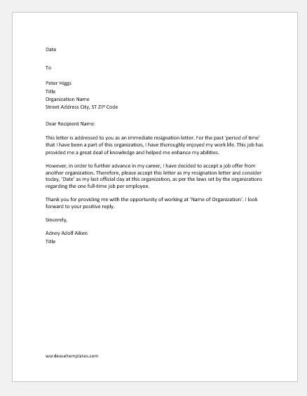 Immediate Resignation Letter For New Job Aripiprazolbivir Website