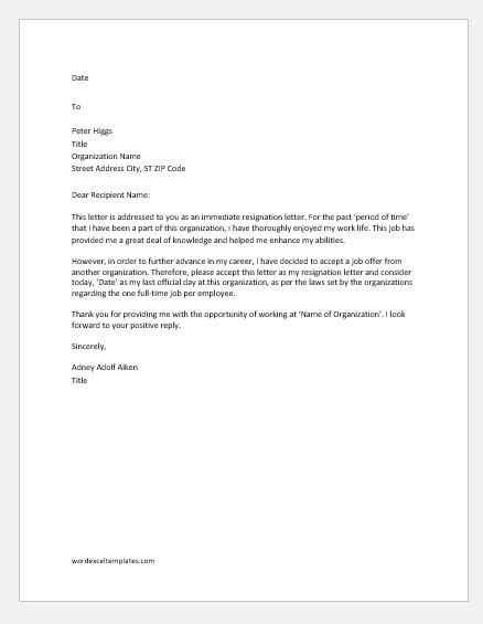 Immediate Resignation Letters for Various Reasons | Word & Excel Templates
