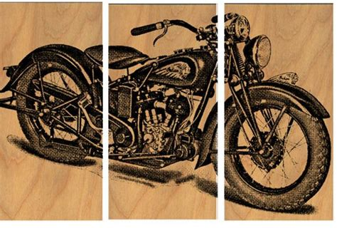 Vintage Motorcycle Screen Print Wood Painting Wall Art