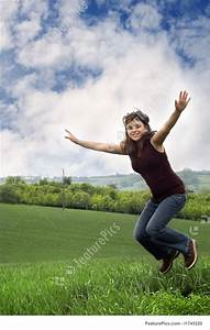 Woman Jumping For Joy Stock Image I1745220 At Featurepics