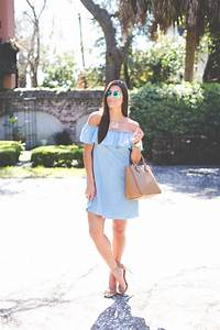Chambray Off the Shoulder Dress A Southern Drawl