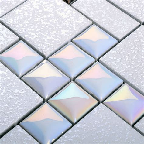wholesale porcelain mosaic floor tile grey square iridescent tile kitchen backsplash bathroom
