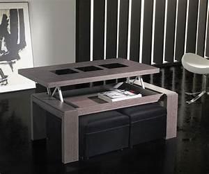 Table De Salon Transformable : table basse relevable couleur c dre gris contemporaine orsina ~ Teatrodelosmanantiales.com Idées de Décoration