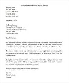 Two 2 Week Notice Resignation Letter Template