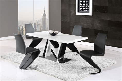 modern monochrome dining table  side leather chairs