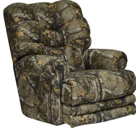 oversized camo recliner duck dynasty big falls power lay flat recliner in realtree 1343