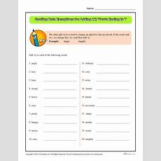 Spelling Rule Exceptions For Adding Ly Words Ending In Y  Worksheets, Language Arts And Homeschool