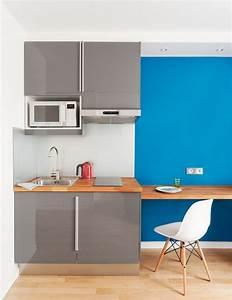 Plan De Travail 70 Cm De Profondeur : good cuisine gris laqu abstrakt ika avec un frigo encastr ~ Melissatoandfro.com Idées de Décoration