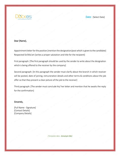 appointment letter sample  word format letter