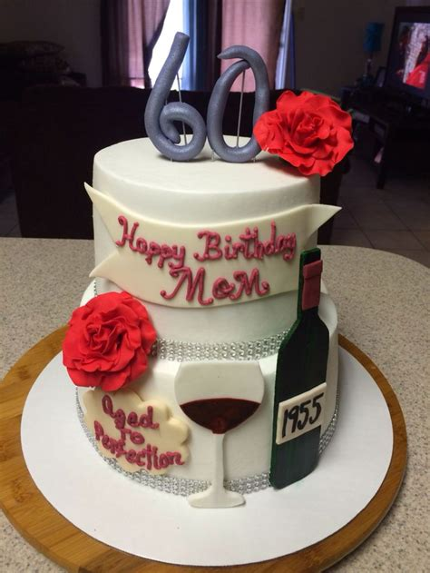 Aged To Perfection Birthday Cake W Wine Bottle And Gl