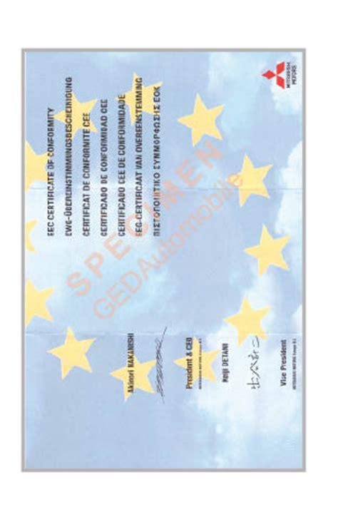 certificat conformite mitsubishi