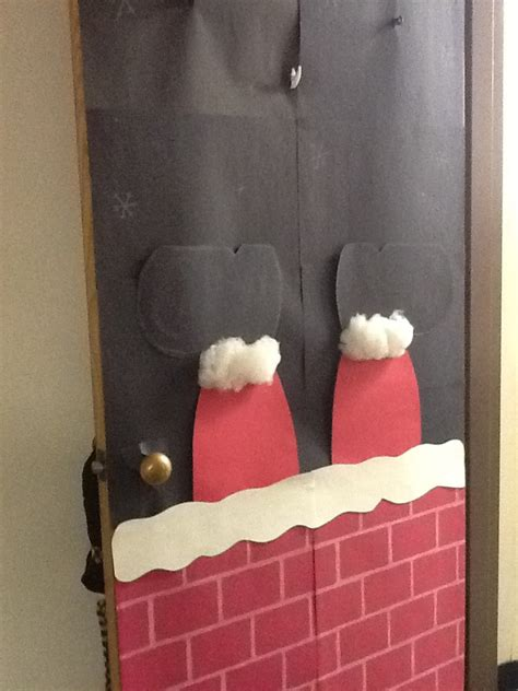 santa stuck   chimney door door decor pinterest