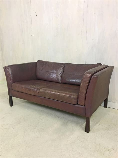 Brown Leather Settee Sale by Scandinavian Brown Leather Settee Retrocraft Design