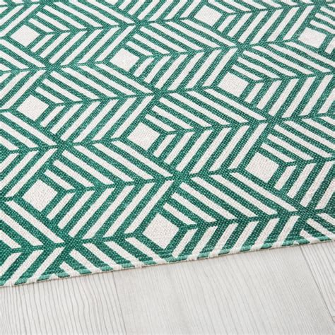 tapis en coton vert motifs graphiques  greeny