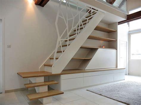 escalier quart tournant avec marches en chene garde corps