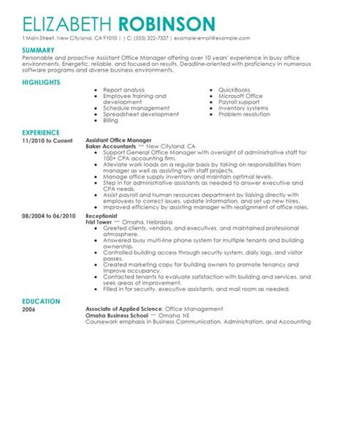 administrative assistant office manager resume best assistant manager resume exle livecareer