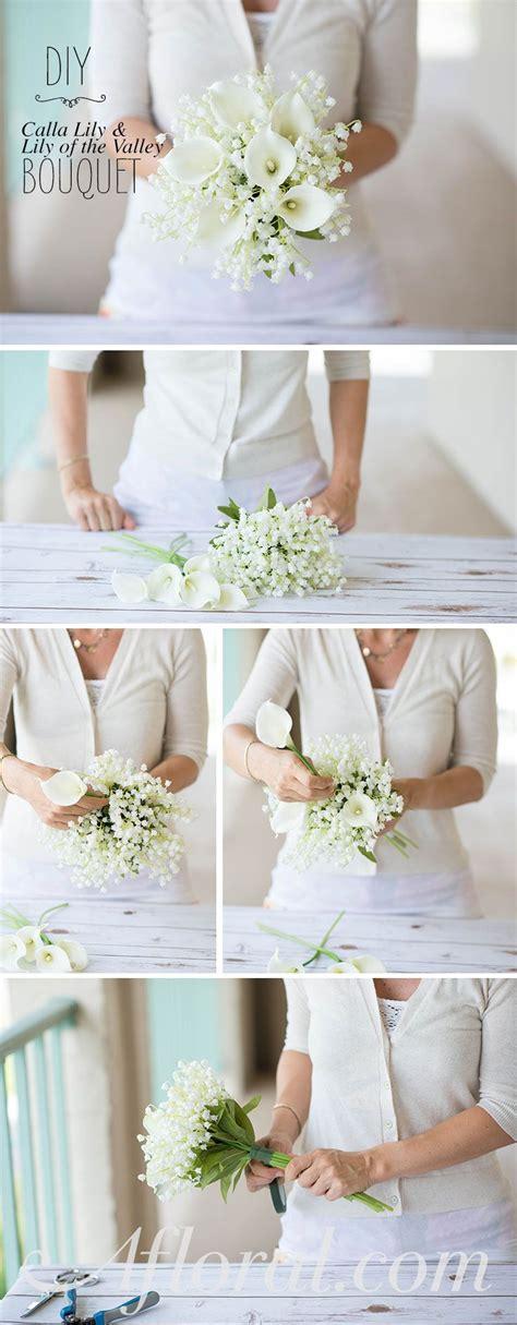 diy lily bouquet wedding bridesmaid flowers white